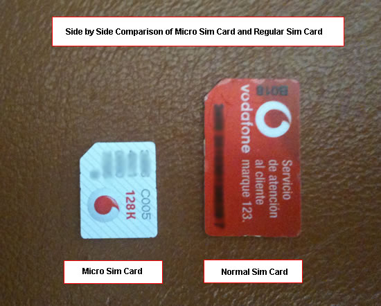 Below is a picture of the difference between micro sim card and normal sim
